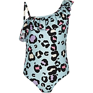 Girls blue leopard print frill swimsuit