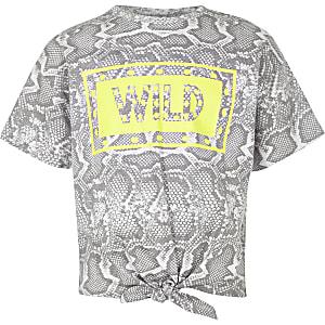 T-shirt imprimé serpent gris noué sur le devant pour fille
