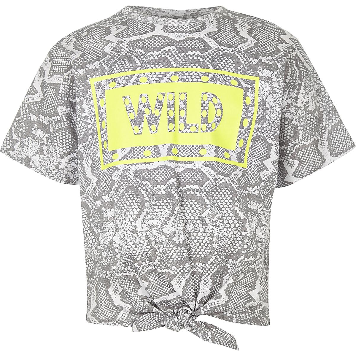 Grijs T-shirt met slangenprint en strik voor meisjes