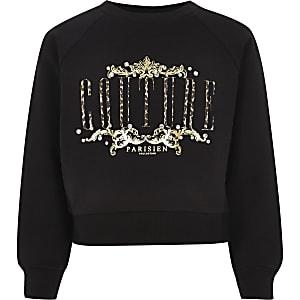 Zwart sweatshirt met 'couture'-print voor meisjes