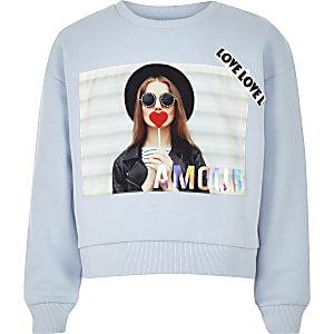 Girls blue 'Amour' slogan sweatshirt