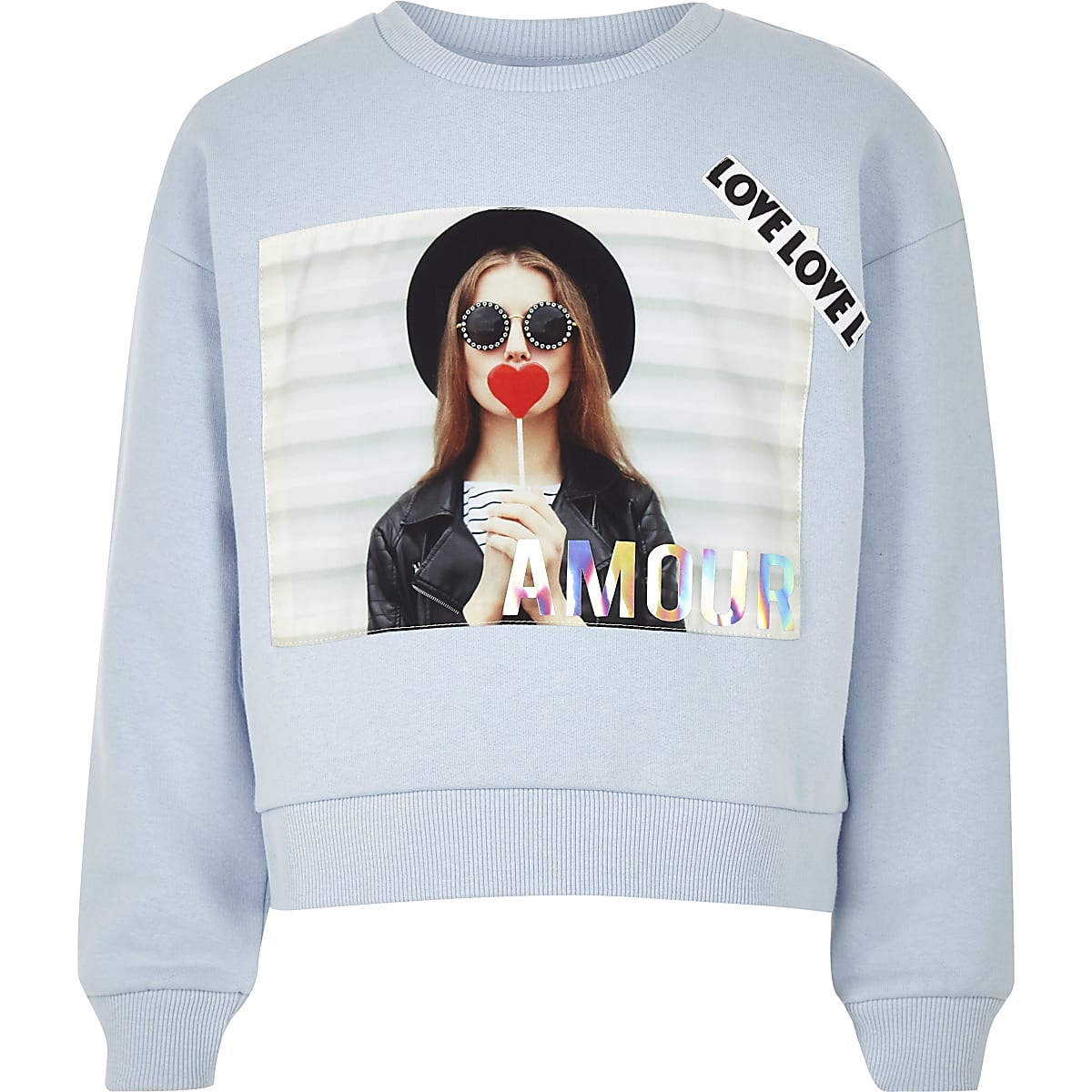 Sweat-shirt pour fille bleu avec texte « Amour »