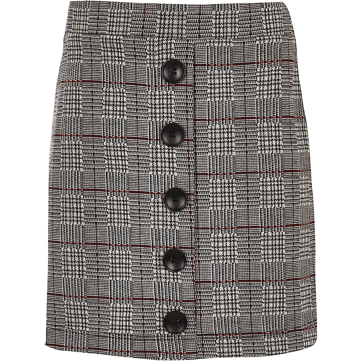 Girls grey check button front skirt