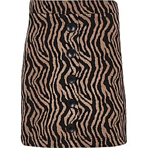 Girls brown zebra print button front skirt