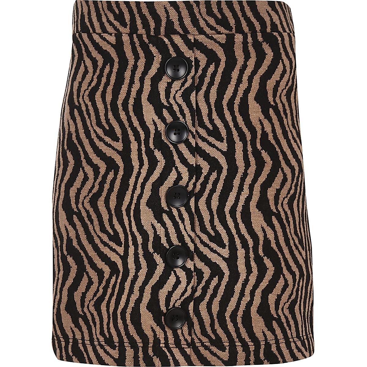 Girls brown zebra print button front skirt
