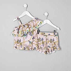 Mini - Outfit met roze top met blote schouder en barokprint voor meisjes