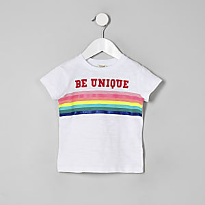 Mini girls white 'Be Unique' rainbow T-shirt