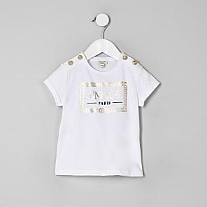 T-shirt «Unique» blanc boutonné mini fille
