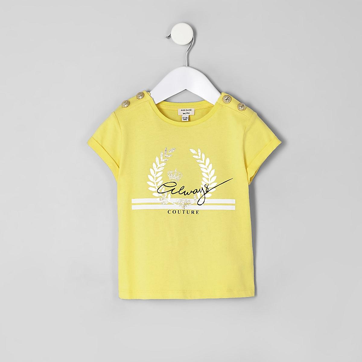 Mini girls yellow 'Always' button T-shirt