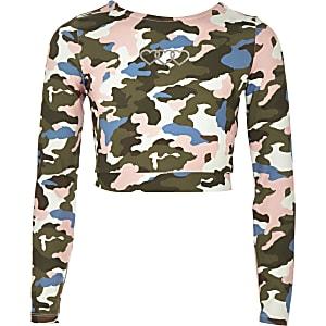 Groene crop top met camouflageprint voor meisjes