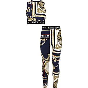 Outfit met marineblauwe crop top met barokprint voor meisjes
