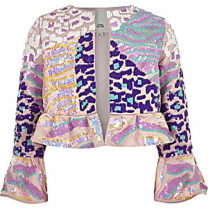 Roze uitlopend jack met pailletten voor meisjes
