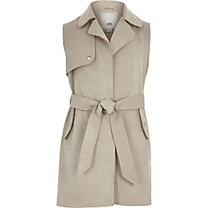 Girls stone suede sleeveless trench jacket