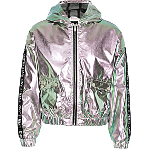 Girls pink metallic hooded bomber jacket
