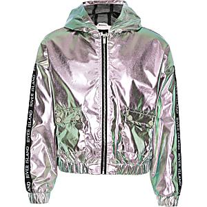 Girls pink metallic hooded bomber jacket