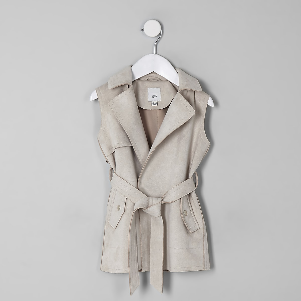 Mini girls stone sleeveless trench jacket