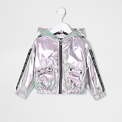 Mini girls pink metallic hooded bomber jacket
