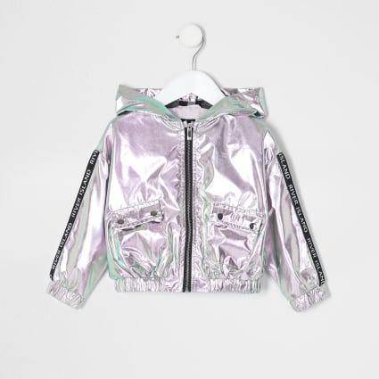 Mini girls pink metallic hooded bomber jacket