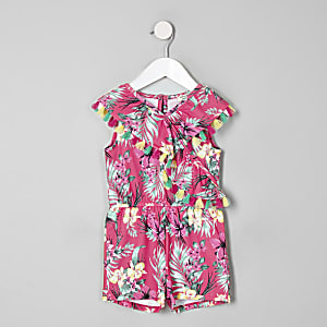 Mini girls pink tropical frill playsuit