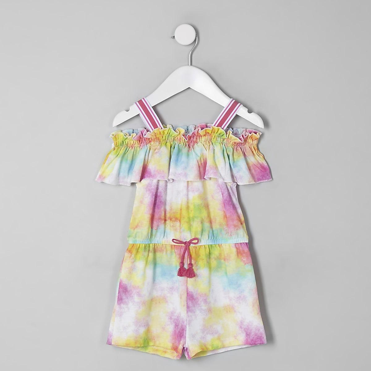 Mini - Roze playsuit met tie-dye en ruche voor meisjes