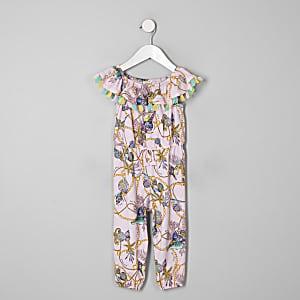 Mini girls pink shell frill jumpsuit
