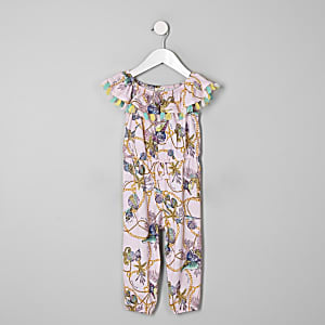 Mini girls pink shell frill jumpsuit