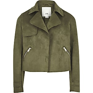 Girls khaki faux suede cropped jacket