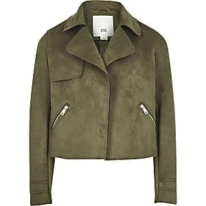 Girls khaki faux suede cropped jacket