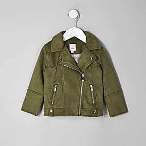 Mini girls khaki faux suede biker jacket