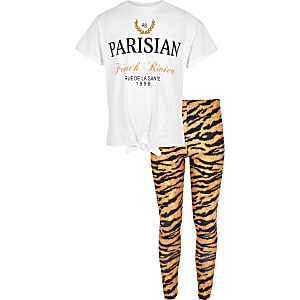 Girls white 'Parisian' T-shirt outfit