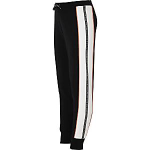 Pantalon de jogging noir avec bandes latérales à logo RI pour fille