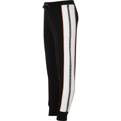 Girls black RI tape joggers