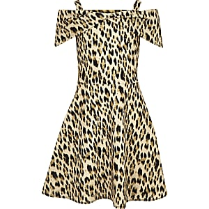 Girls brown leopard print bow front dress