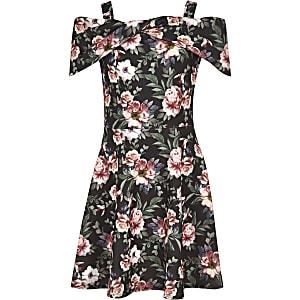 Schwarzes Scuba-Kleid mit Blumen und Schleife