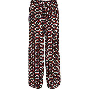 Girls navy heart print wide leg pants