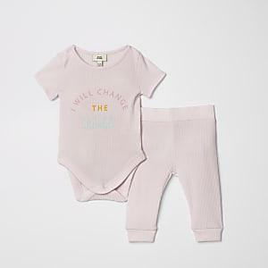 Roze leggingoutfit met sloganprint voor baby's