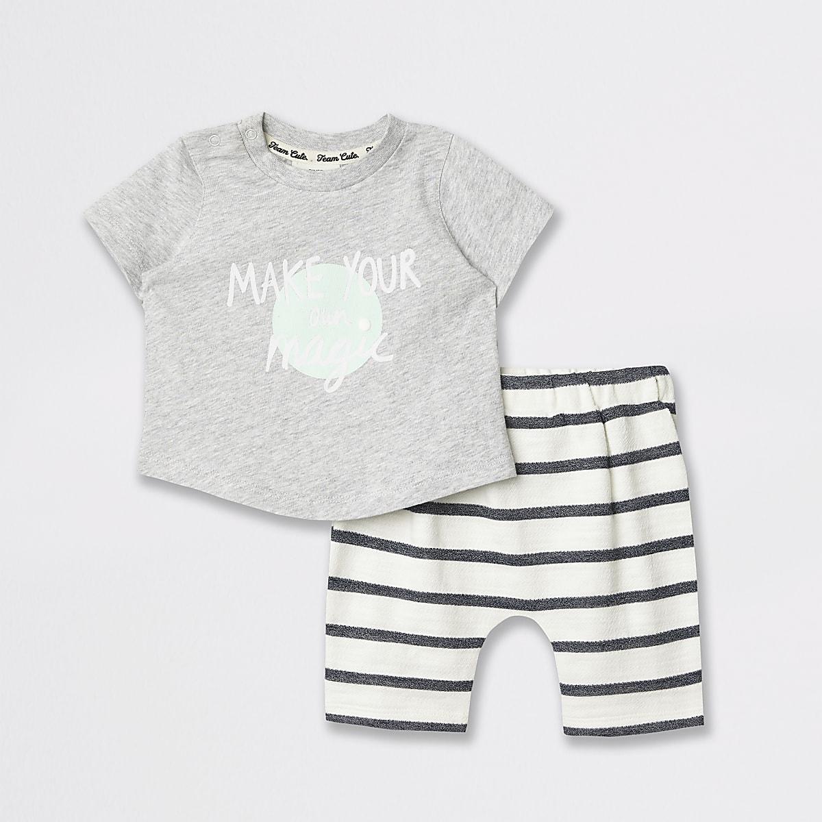 Outfit met grijs T-shirt met grafische print voor baby's