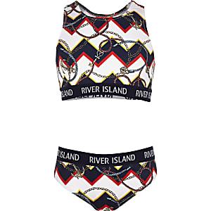 Marineblauwe crop bikini met gecombineerde print voor meisjes