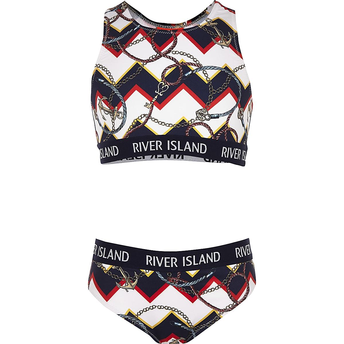 Girls navy mixed print crop bikini set
