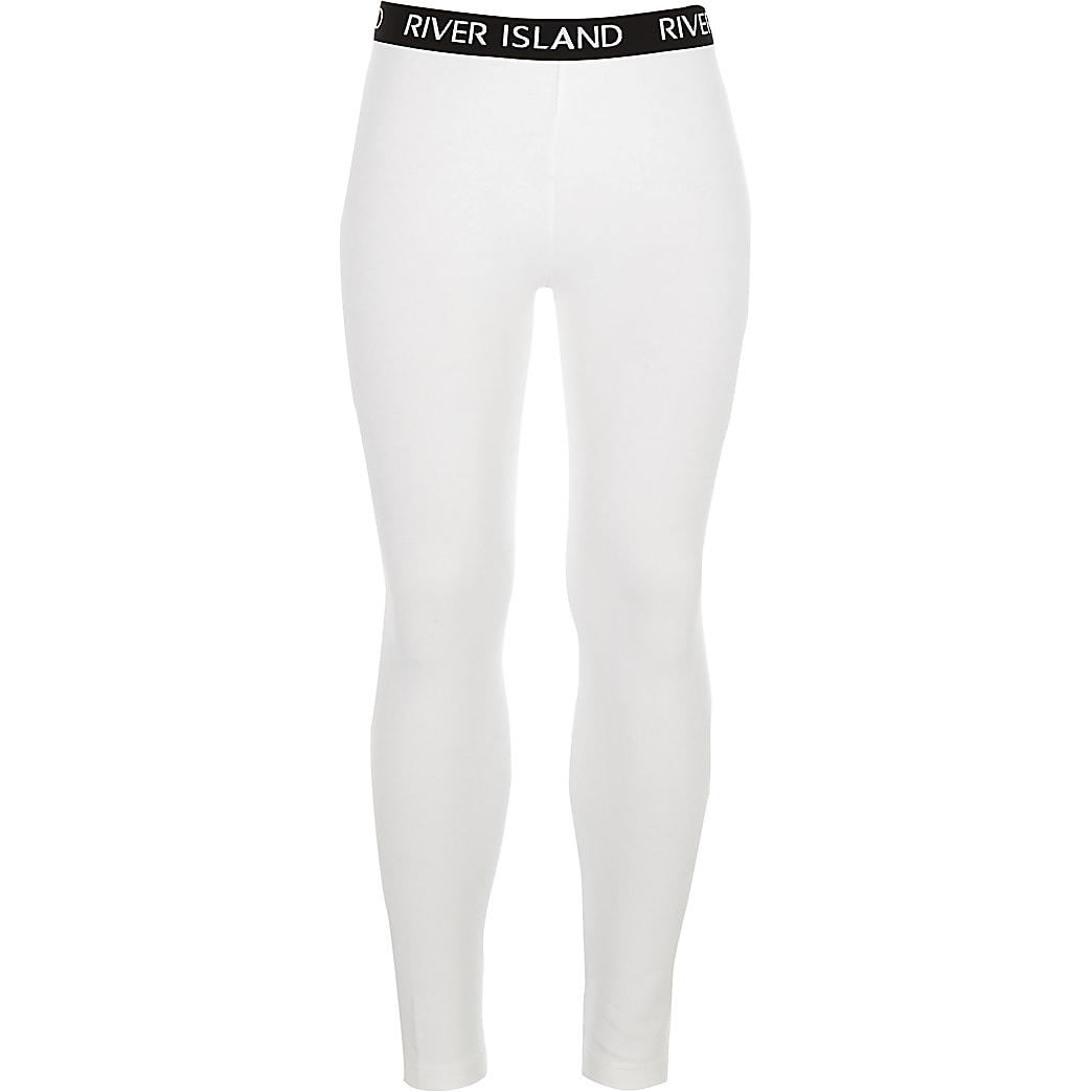 Girls white RI branded leggings