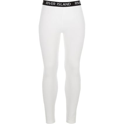 Girls white RI branded leggings