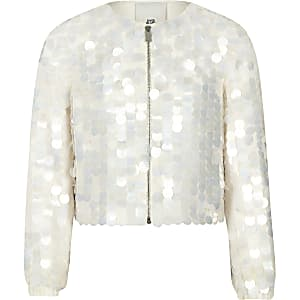 Girls cream sequin embellished jacket