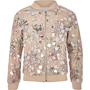 Girls pink sequin bomber jacket