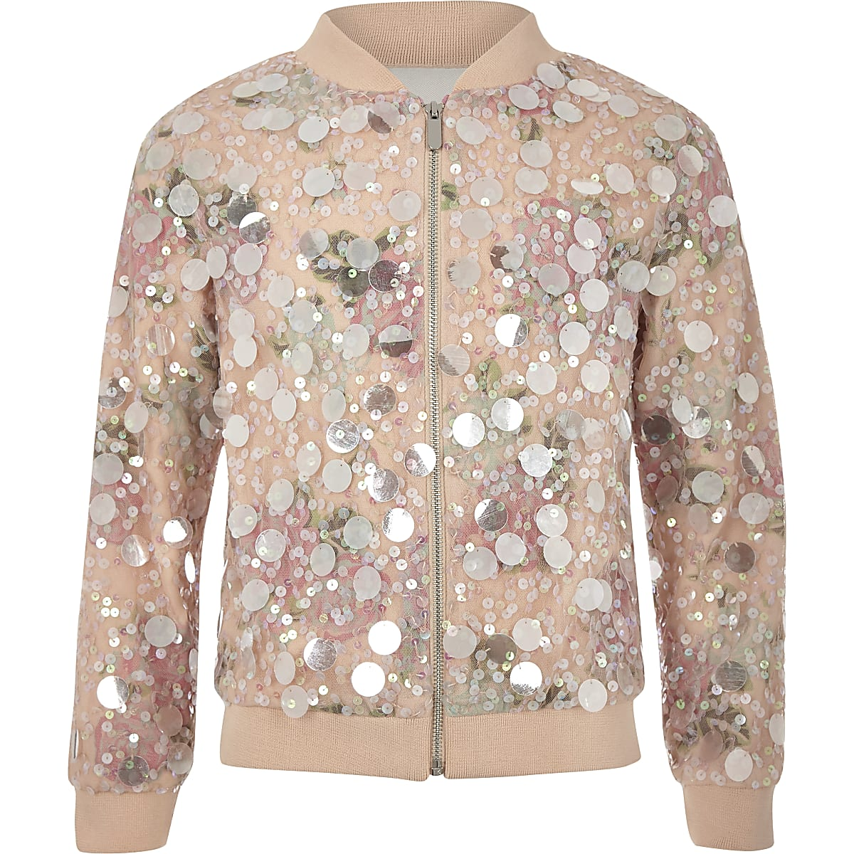 036193ea0 Girls pink sequin bomber jacket