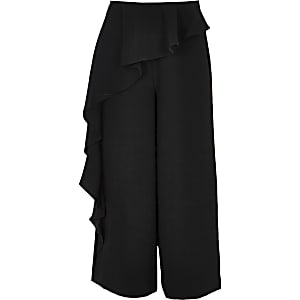 Girls black frill pant