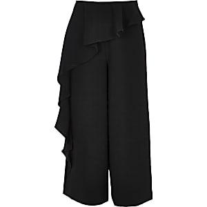 Pantalon noir à volant pour fille