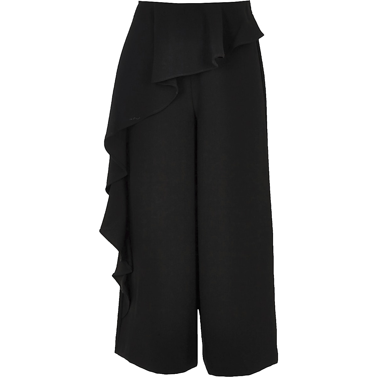Girls black frill trouser
