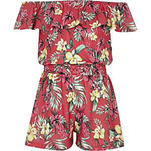 Girls pink tropical bardot frill romper