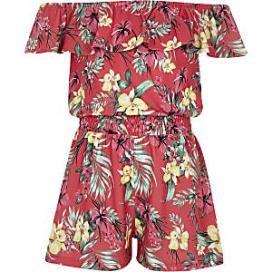 Roze playsuit met bardot-ruche en tropische print voor meisjes