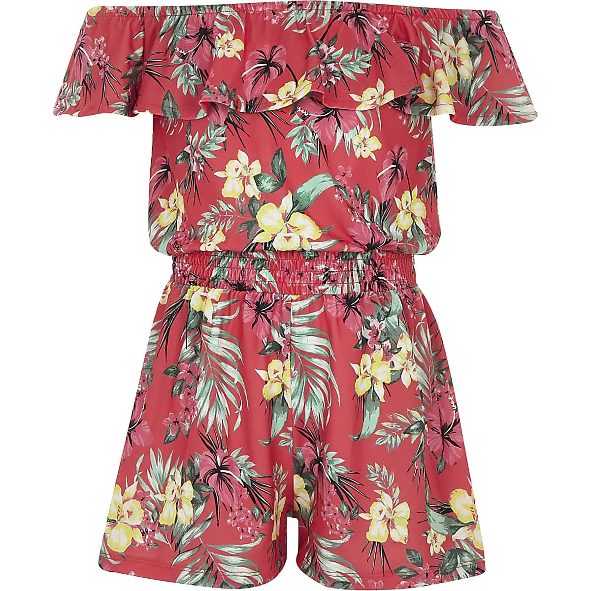 Girls pink tropical bardot frill playsuit